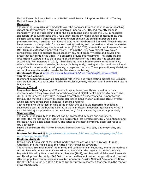 Healthcare Publications Zika Virus Testing Market