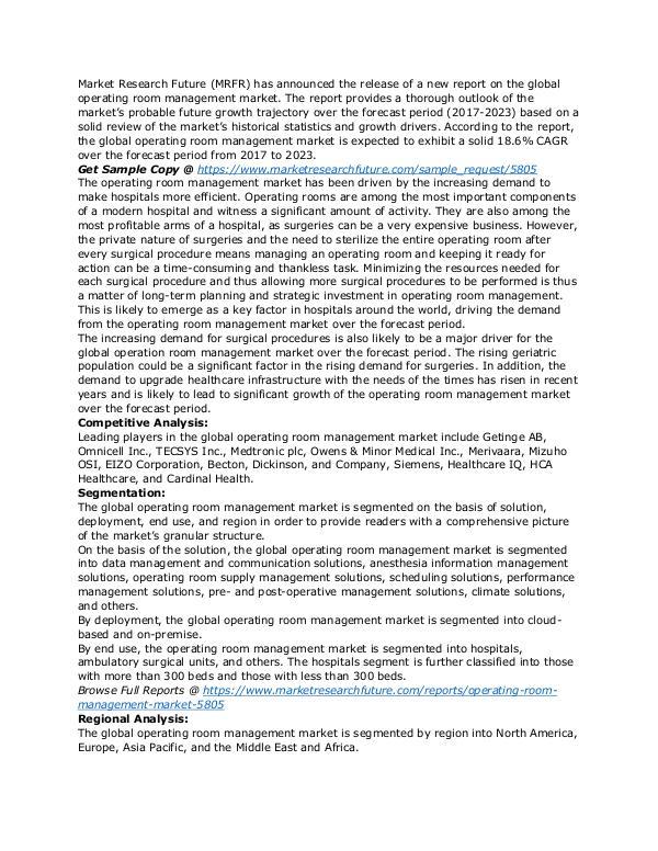 Healthcare Publications operating room management market