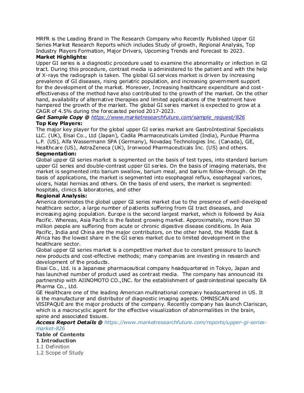 Healthcare Publications Upper GI Series Market