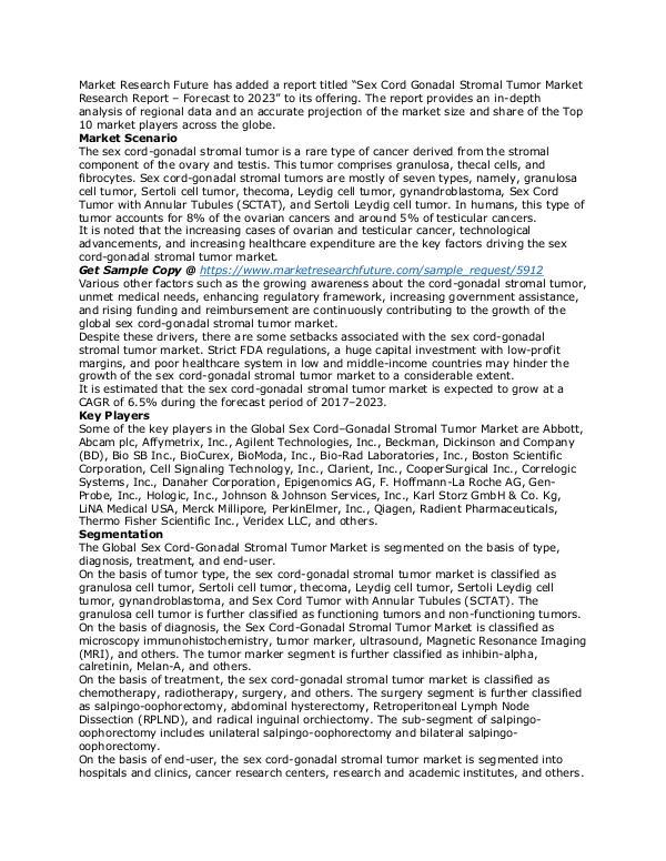Healthcare Publications Sex Cord Gonadal Stromal Tumor Market