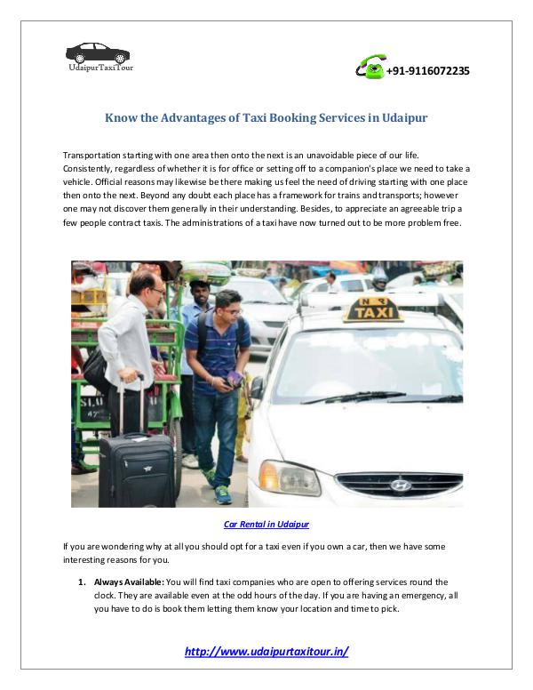 Udaipur Taxi for Visiting Local and Nearby Places Know the Advantages of Taxi Booking Services in Ud