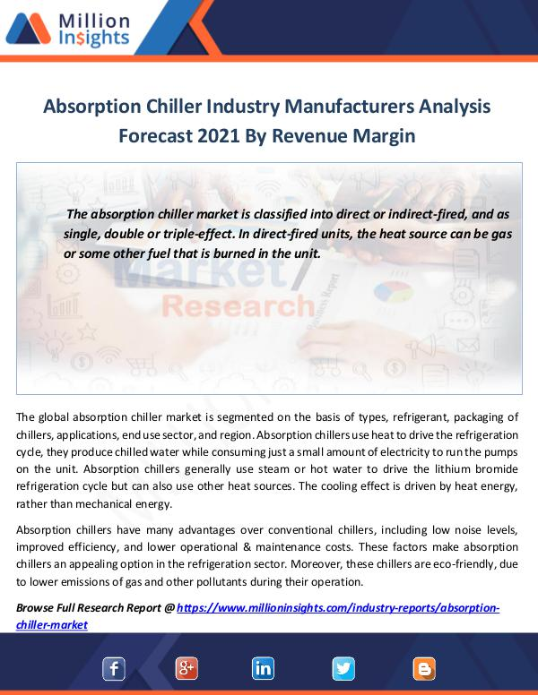 Absorption Chiller Industry Manufacturers Analysis