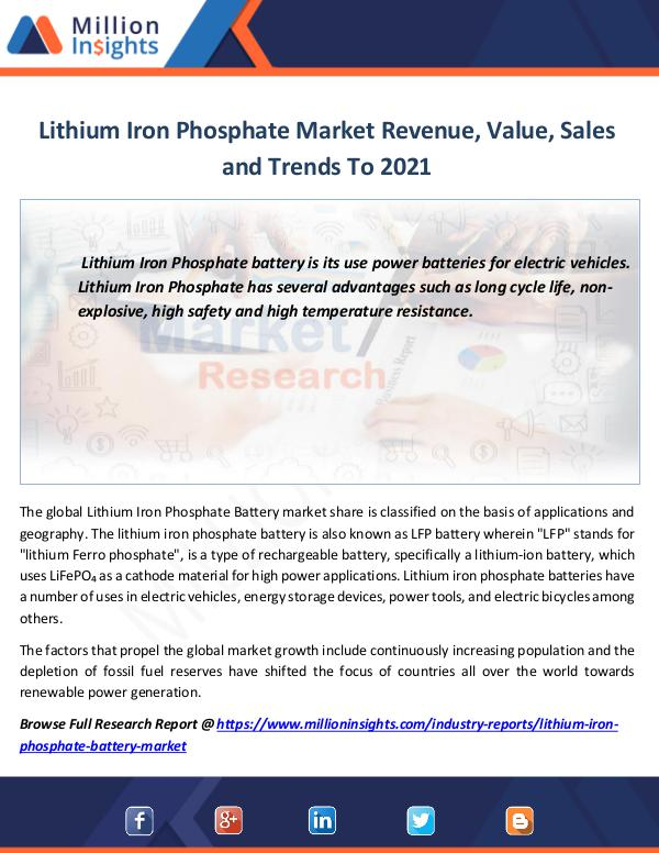 Market Revenue Lithium Iron Phosphate Market Revenue, Value