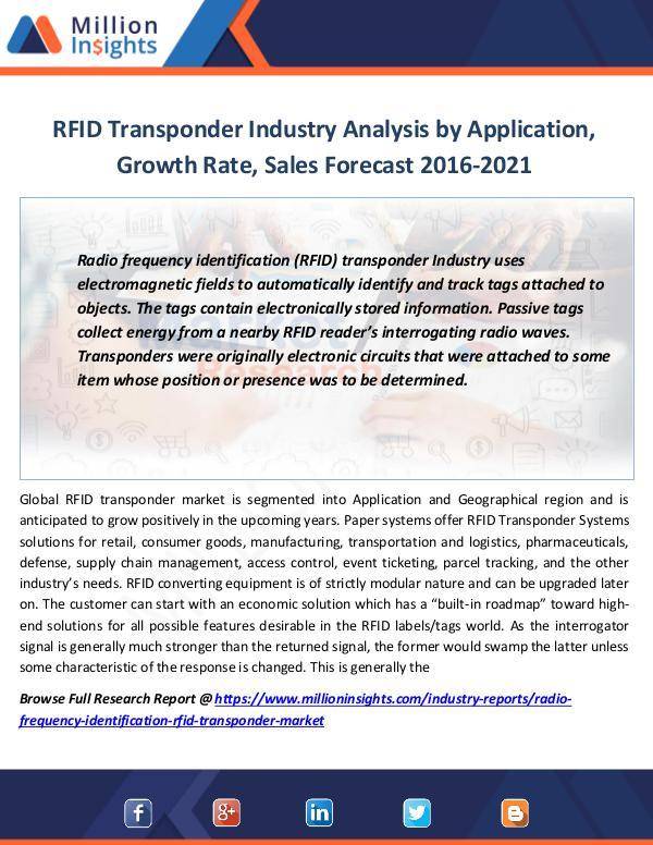 Market Revenue RFID Transponder Industry Analysis by Application