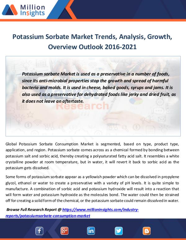 Market Revenue Potassium Sorbate Market Trends, Analysis, Growth