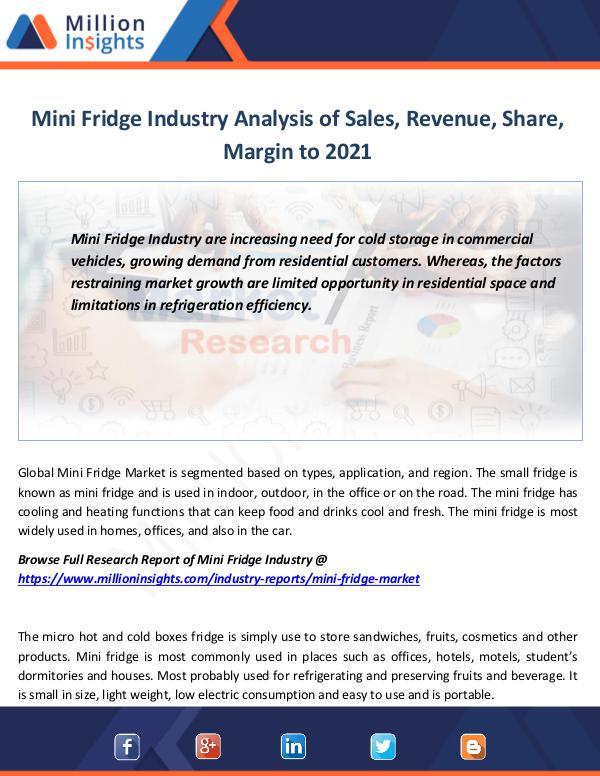 Market Revenue Mini Fridge Industry Analysis of Sales, Revenue