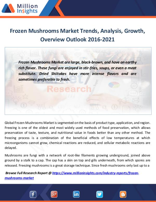 Market Revenue Frozen Mushrooms Market Trends, Analysis, Growth