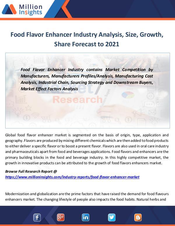 Food Flavor Enhancer Industry Analysis, Size