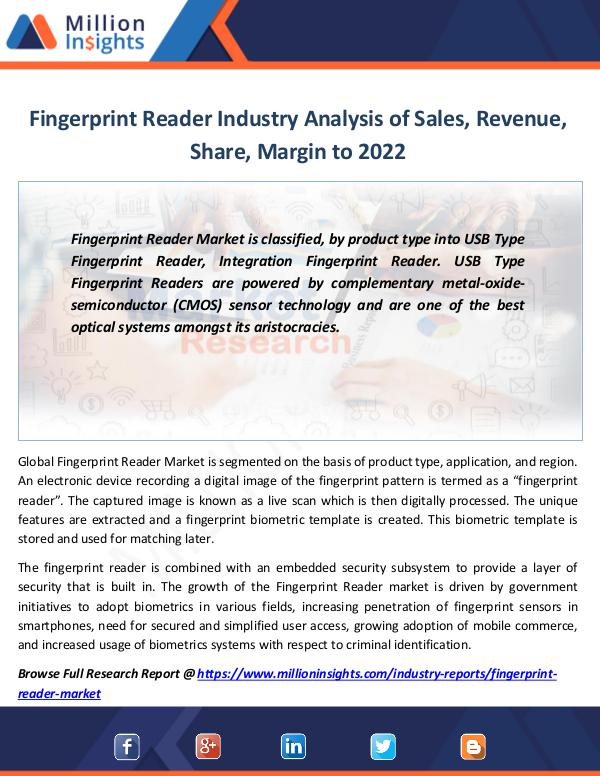 Market Revenue Fingerprint Reader Industry Analysis of Sales