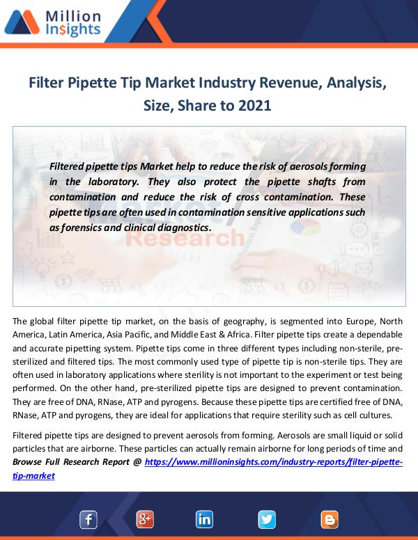 Market Revenue Filter Pipette Tip Market Industry Revenue