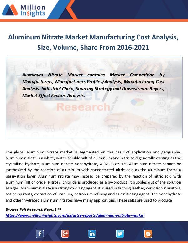 Market Revenue Aluminum Nitrate Market Manufacturing Cost