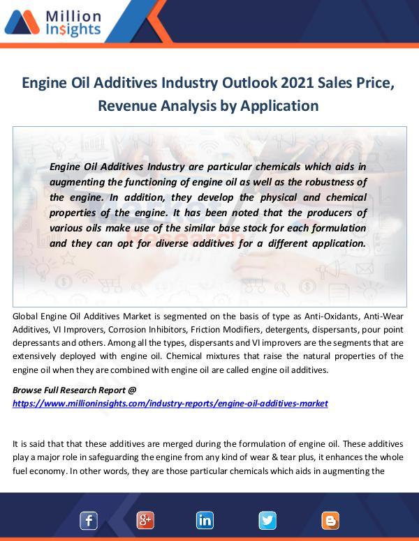 Engine Oil Additives Industry Outlook 2021