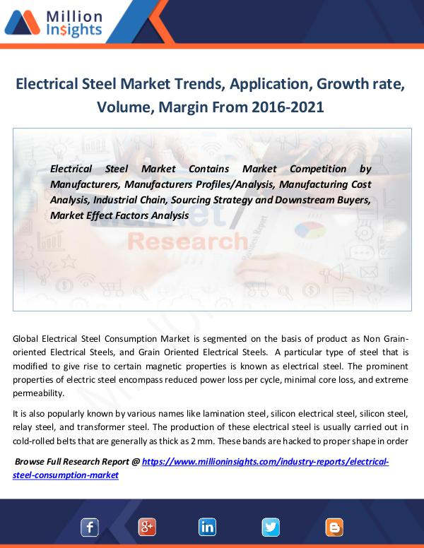 Market Revenue Electrical Steel Market Trends, Application