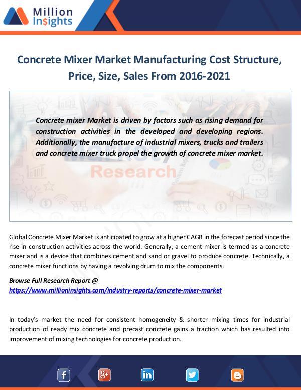 Market Revenue Concrete Mixer Market Manufacturing Cost Structure