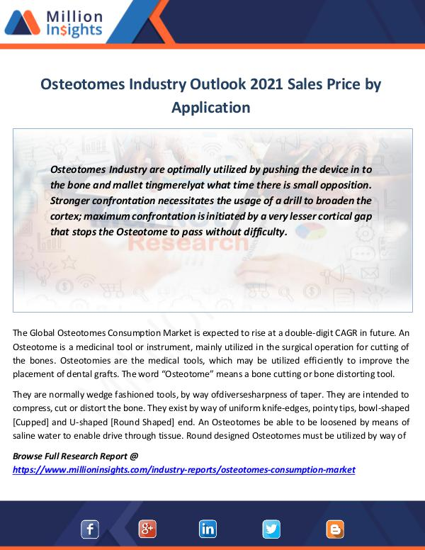 Osteotomes Industry Outlook 2021 Sales Price