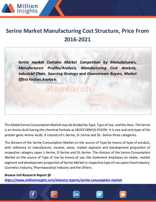 Serine Market Manufacturing Cost Structure