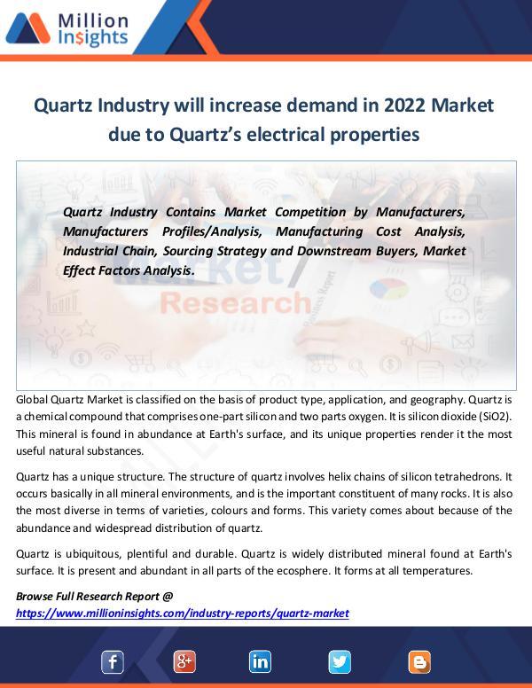 Quartz Industry will increase demand in 2022