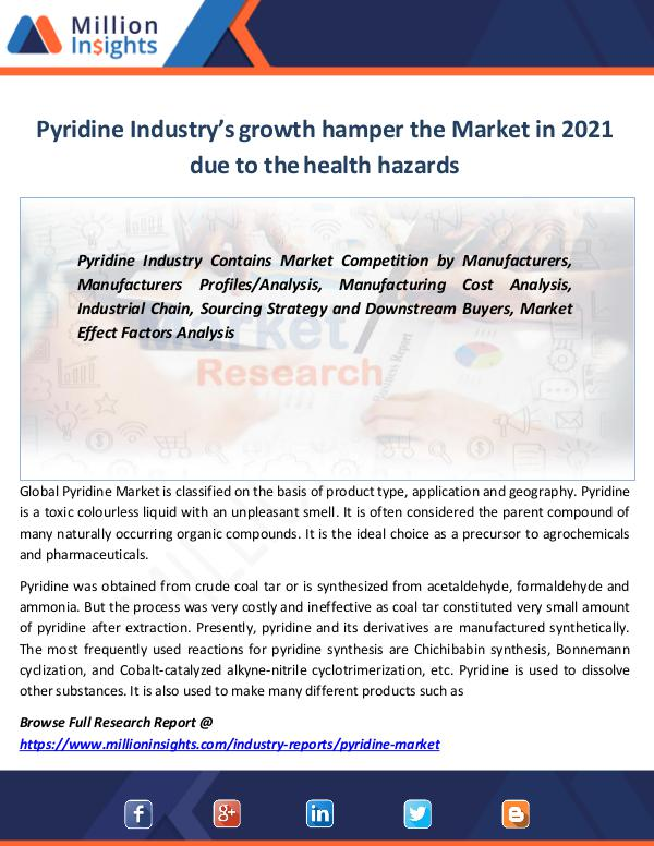 Pyridine Industry's growth hamper the Market