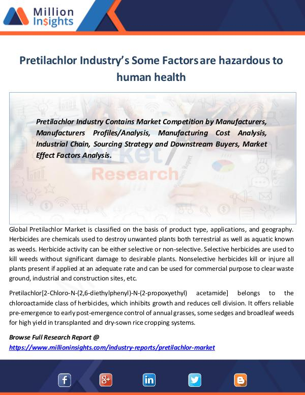 Pretilachlor Industry's Some Factors are hazardous