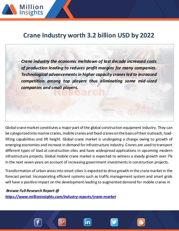 Crane Industry worth 3.2 billion USD by 2022