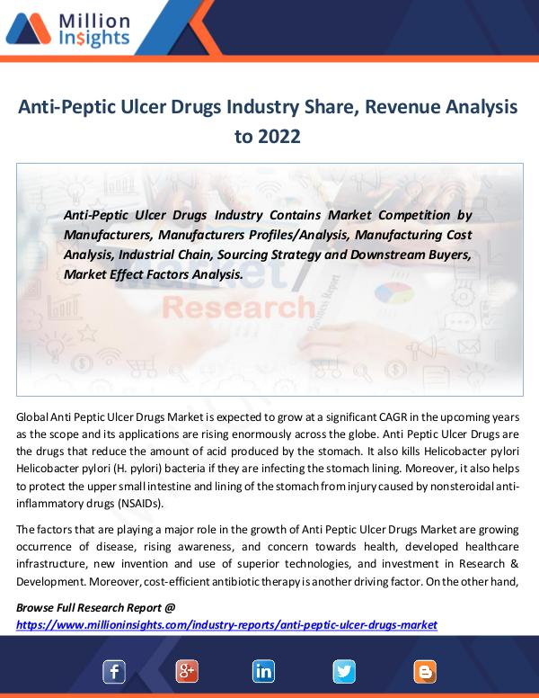 Market Revenue Anti-Peptic Ulcer Drugs Industry Share, Revenue