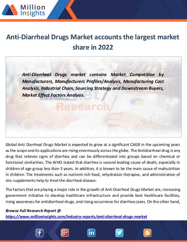 Anti-Diarrheal Drugs Market Forecast Report