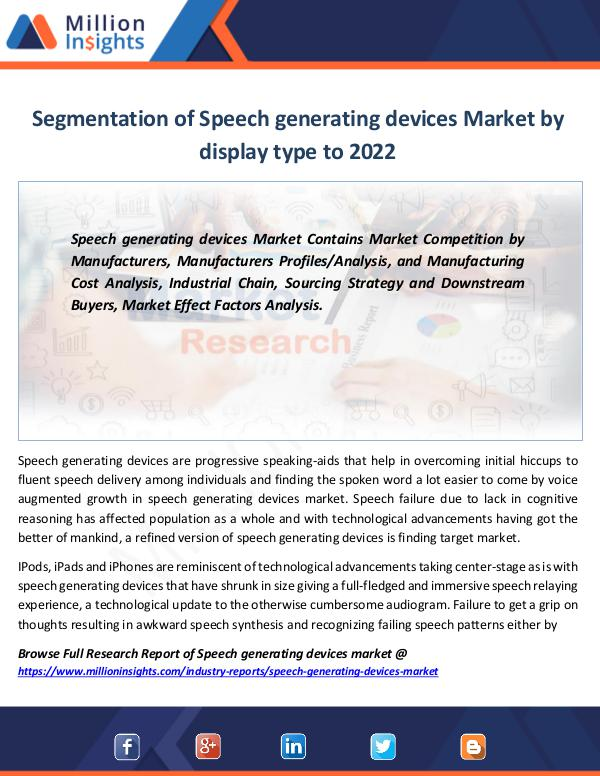 Speech generating devices Market Report to 2022