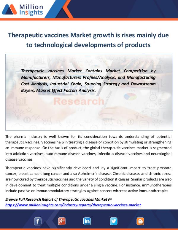 Therapeutic vaccines Market growth rises in 2022
