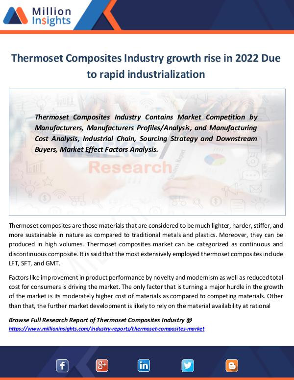 Thermoset Composites Industry growth rise in 2022