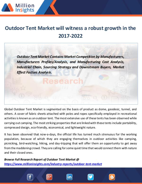 Market Revenue Outdoor Tent Market will witness a robust growth