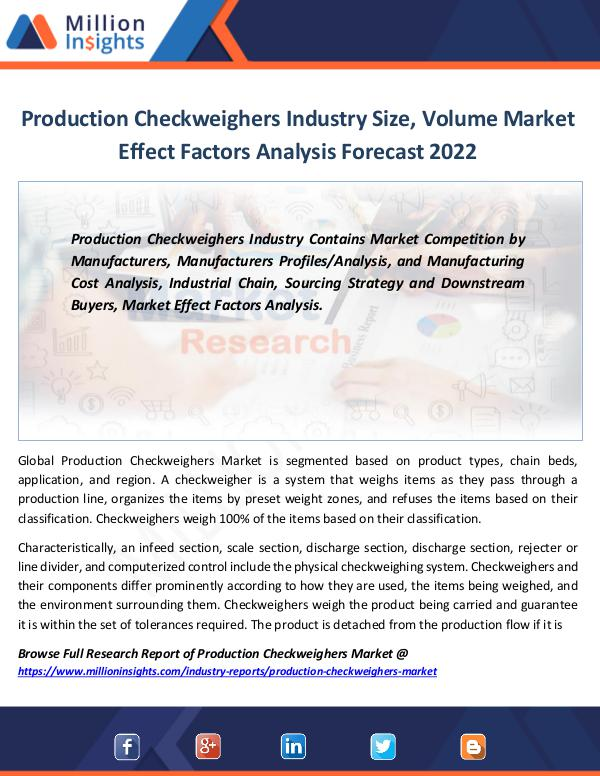Market Revenue Production Checkweighers Industry Size, Volume
