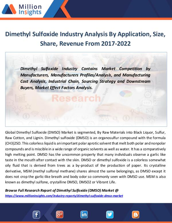 Dimethyl Sulfoxide Industry Analysis by 2022