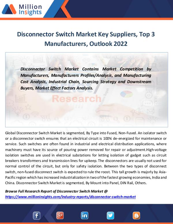 Disconnector Switch Market Key Suppliers by 2022