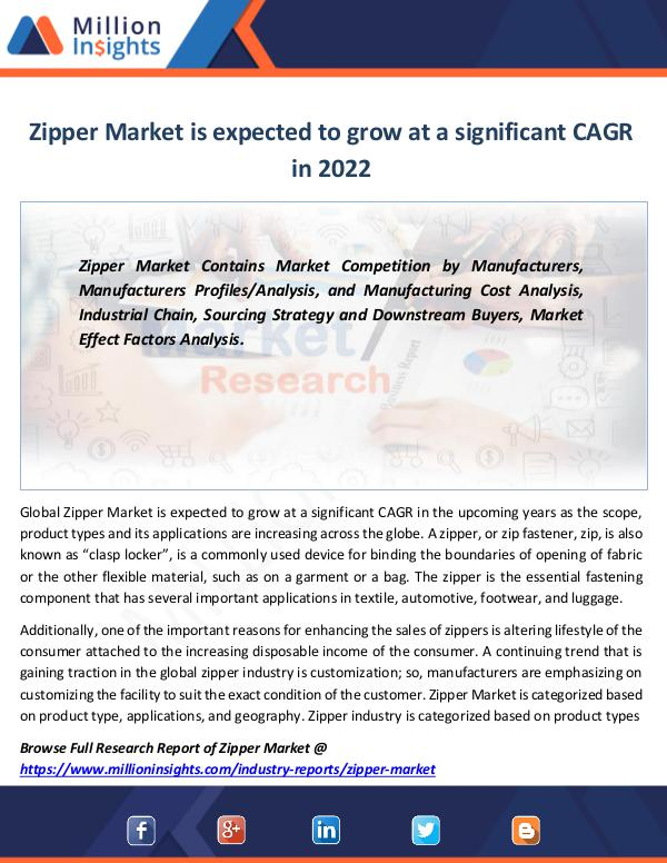 Market Revenue Zipper Market is expected to grow highly in 2022
