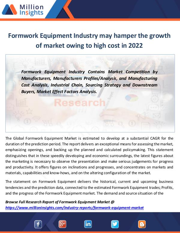 Market Revenue Formwork Equipment Industry may hamper the growth