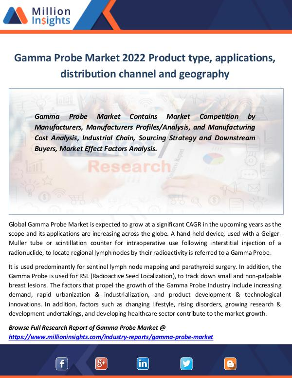 Gamma Probe Market 2022 Product type, applications