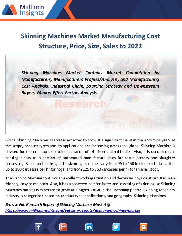 Skinning Machines Market Manufacturing Cost 2022