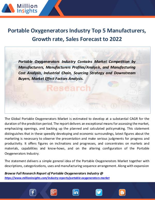 Portable Oxygenerators Industry Report By 2022