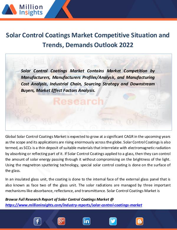 Solar Control Coatings Market Size, share 2022