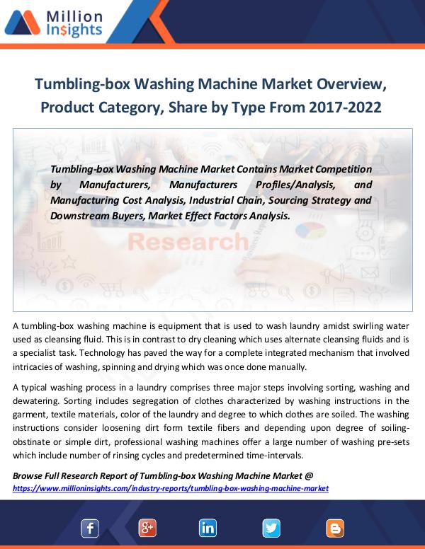 Market Revenue Tumbling-box Washing Machine Market Overview 2022