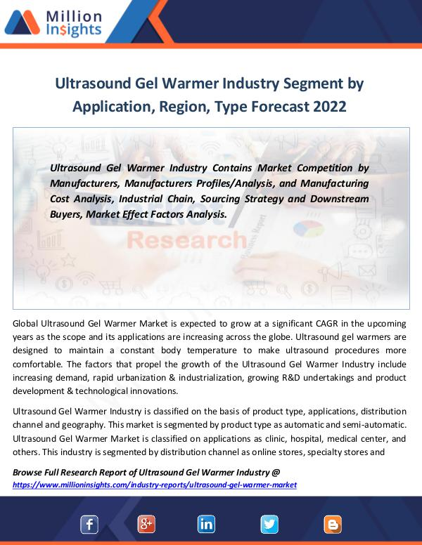 Ultrasound Gel Warmer Industry Segment by 2022