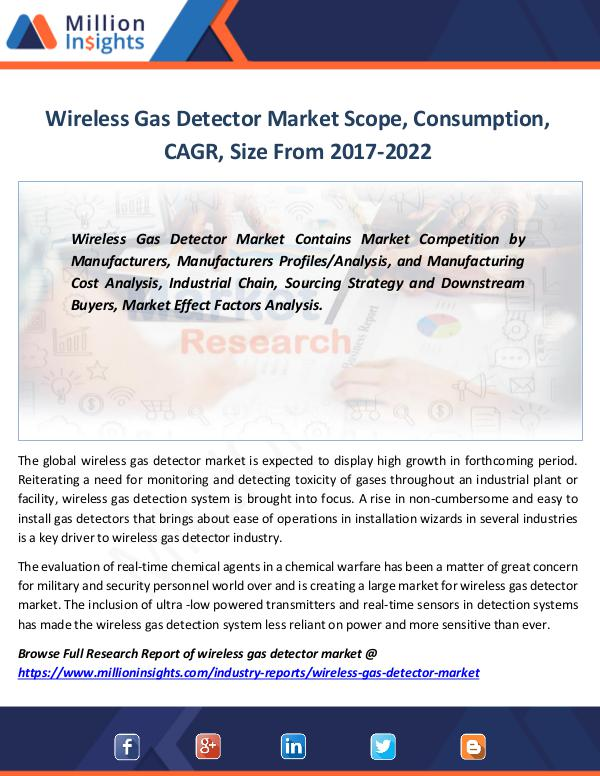 Wireless Gas Detector Market Scope, Consumption