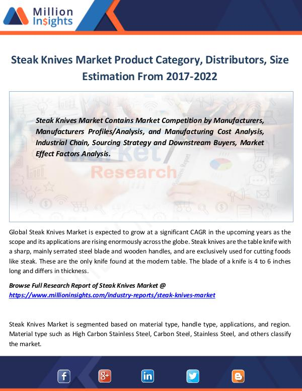 Steak Knives Market Product Category, Distributors