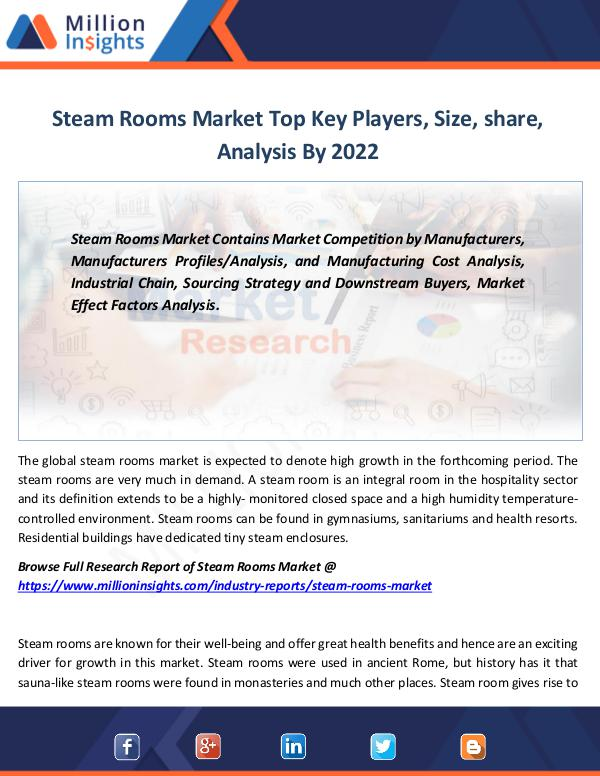 Steam Rooms Market Top Key Players, Size, share