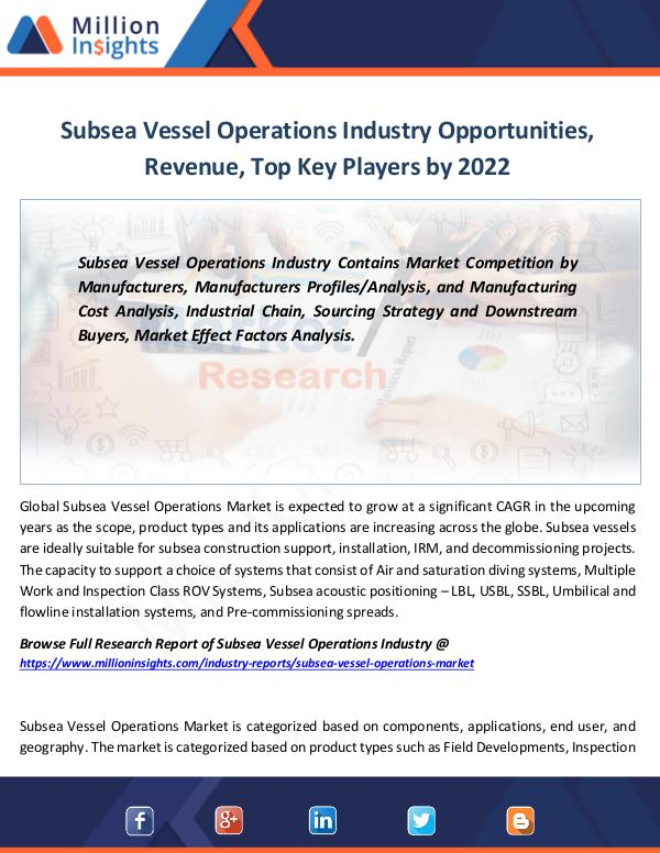 Subsea Vessel Operations Industry Opportunities
