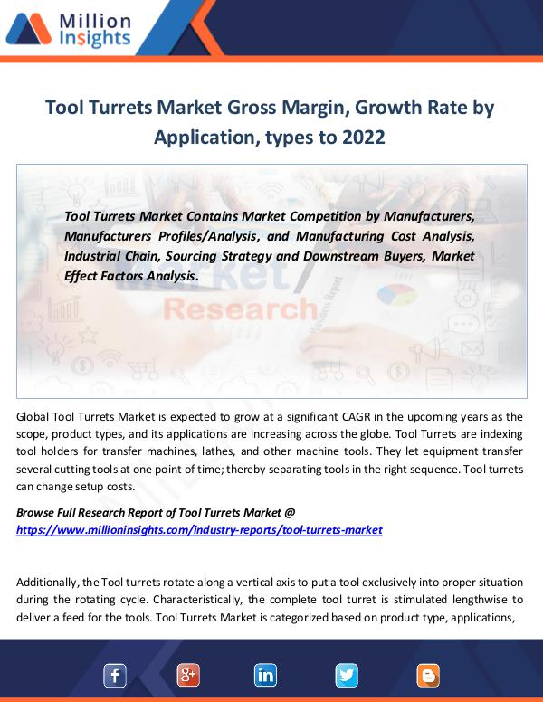 Tool Turrets Market Gross Margin, Growth Rate 2022