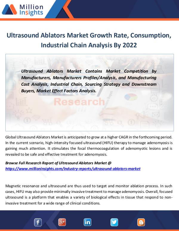 Ultrasound Ablators Market Growth Rate By 2022