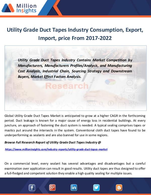 Utility Grade Duct Tapes Industry Consumption 2022