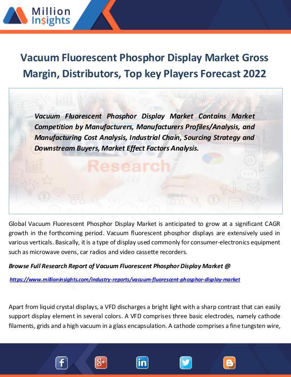 Market Revenue Vacuum Fluorescent Phosphor Display Market By 2022