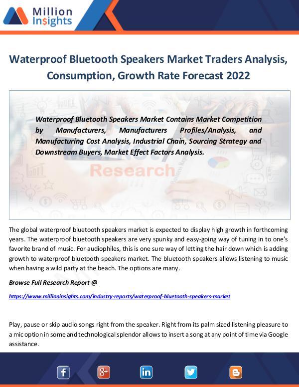 Market Revenue Waterproof Bluetooth Speakers Market Traders 2022